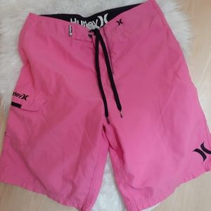 Hot pink Hurley swim trunks side pocket size 32